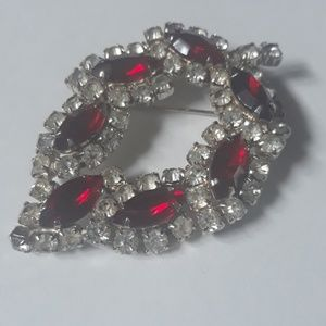 50s Ruby and diamond vintage brooch